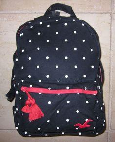 Hollister! New Womens Classic Cotton Navy Blue Polka Dot Bookbag Tote Backpack #Hollister #BackpackBookbagTote