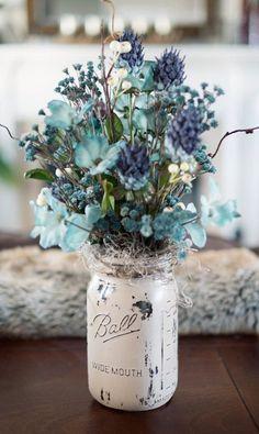 ♥ Blue flowers in a mason jar  Pinned by Martine Sansoucy Photography  http://facebook.com/saskatoonphotography  Award winning Destination Wedding & Fashion Editorial Photographer