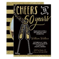 50th Birthday Party Invitation with Photo in Gold and Black                                                                                                                                                                                 More
