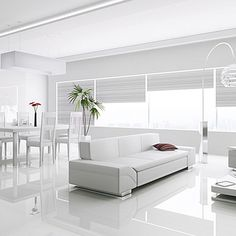 Create the ultimate modern interior with the outstanding Kronotex Gloss White La. White Interior Design, Home Interior, Interior Design Living Room, Living Room Designs, Modern Interior, Interior Ideas, Living Room White, White Rooms, Living Room Decor