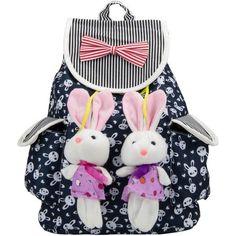 Cute Lightweight Girls' Canvas Bunny Buddy Rucksack Backpack, Blue