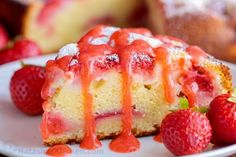 ***Easy Strawberry Cake with Strawberry Syrup ~ loaded with strawberries. So soft, lightly sweet, moist and bursting with strawberry flavor. Must-try easy strawberry syrup! Fresh Strawberry Recipes, Strawberry Pretzel Salad, Strawberry Sauce, Strawberry Cakes, Strawberry Fields, Strawberry Shortcake, Mini Cakes, Cupcake Cakes, Cupcakes