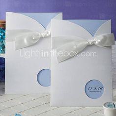 Light Sky Blue Wedding Invitation With Round Cutout (Set of 50) - AUD $ 50.06