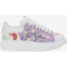 Alexander McQueen Oversized Sneaker featuring polyvore women's fashion shoes sneakers multicolor multi color shoes sequined shoes floral shoes multicolor shoes floral-print shoes