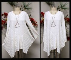 Crazy Cuts Asymmetrical Designer Lagenlook Plus Size tunic top from M To White Tunic, Party Tops, Asymmetrical Tops, Plus Size, Size 2, Tunic Tops, Clothes For Women, Trending Outfits, Pattern Sewing