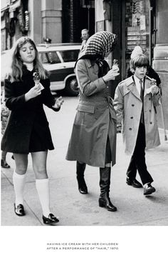 "1970 ~ Jackie, Caroline, & John Jr Enjoying Some Ice Cream After Seeing A Performance Of ""HAIR"""