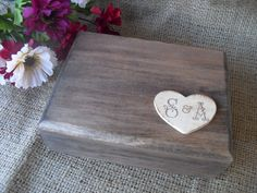 A warm and welcome change to that traditional satin ring bearer pillow, this charming rustic ring bearer box with hand stamped wooden heart. Rustic Wedding Rings, Wedding Ring Box, Dream Wedding, Wedding Stuff, Rustic Wood Box, Wooden Ring Box, Ring Bearer Box, Wood Rings, Wooden Hearts