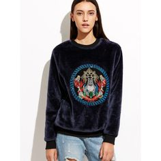 628be1dd594a Shop Navy Velvet Sweatshirt With Embroidered Detail online Australia