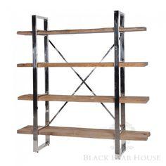 regał z drewna i aluminium black bear house