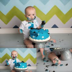 Lovely Baby Photography  Cake Smash Photography Session Teal, Green and Grey