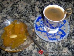 Great recipe for Orange pumpkin spoon sweet. You never get tired of looking at the perfect shiny golden color of this spoon sweet. Recipe by sirilo Orange Recipes, Sweet Recipes, Fruit Preserves, Recipe Images, Spoon, Tea Cups, Vanilla, Lime, Pumpkin
