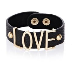 River Island Black leather love bracelet (23 AUD) ❤ liked on Polyvore featuring jewelry, bracelets, accessories, pulseiras, pulseras, leather bangle, river island and leather jewelry