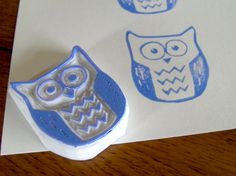 Little Owl hand carved stamp