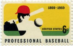 USA postage stamp from 1969 commemorating 100 years of Professional Baseball