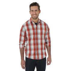 Wrangler Men's Jeans Co Long Sleeve Woven Plaid Shirt (Size: Medium)