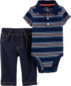 US Polo Assn Baby Boys Bodysuit 2pc Denim Overall
