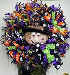Halloween Witch Wreath  $99.97 Halloween Veranda, Halloween Porch, Cute Halloween, Holidays Halloween, Halloween Witches, Halloween Door Wreaths, Halloween Witch Decorations, Green Basket, Wreath Supplies