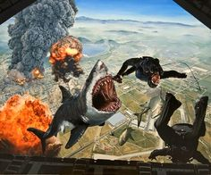 As surreais pinturas hiper-realistas com animais gigantes de Caleb Brown