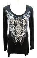 Rayon spandex blend black top with zipper back detailing and leopard print peekaboo with crystal accents