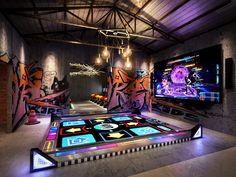 北京海岸郭准投稿—武汉十三街区电玩城设计方案 Dream Home Design, My Dream Home, House Design, Future House, My House, Gaming Lounge, Game Room Basement, Basement Stairs, Arcade Room