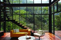 Discover the Best Latest Glass House Designs Ideas at The Architecture Design. Visit for more images and ideas about Glass House Designs Ideas. Modern Tropical House, Tropical House Design, Modern House Design, Tropical Houses, Tropical Paradise, Home Design, Glass House Design, Tropical Interior, Tropical Forest