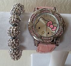 52af5344149e56 Pink Silver Hello Kitty Watch 14mm Large Crystal Pave Bead Bracelet Set