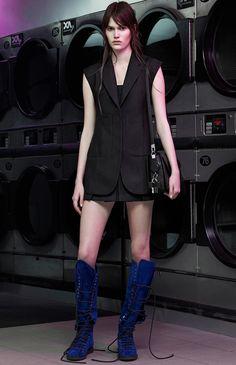 Modern black + cobalt blue mohair boots Alexander Wang Resort 2015 #Resort15 #fashion