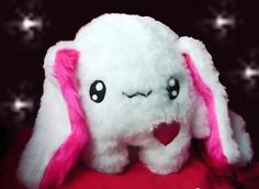 Kawaii Plush Rabbit Monster Kuschel Hase Plüschtier White Unikat Handmade
