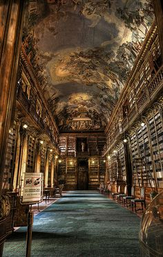 The Philosophical Hall - Library of Strahov Monastery, Prague, Czech Republic A fresco on the ceiling of a 770 yr old library. One more reason I'm dying to visit Prague. Baroque Architecture, Beautiful Architecture, Beautiful Buildings, Beautiful Places, Library Architecture, Interior Architecture, Ancient Architecture, Interesting Buildings, Beautiful Beautiful