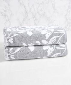 Look what I found on #zulily! Soft Silver & Sugar Swizzle Floral Block Jacquard Bath Towel #zulilyfinds