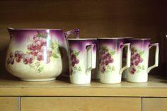 antique Dresden china lemonade pitcher & cups - grapes