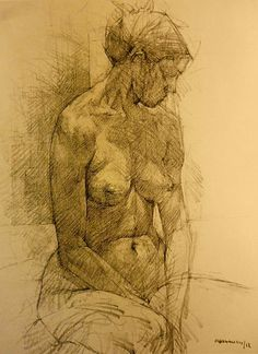 George-Maran Varthalitis, seated female nude figure drawing, 2012. #NSFW