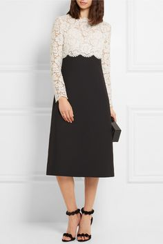Valentino | Lace and wool and silk-blend crepe midi dress | NET-A-PORTER.COM
