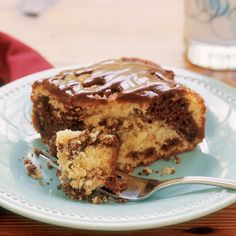 You're sure to find the answer among these many delicious, Disney-inspired meals and treats. Marble Cake Recipes, Dessert Recipes, Desserts, Best White Cake Recipe, Teacher Cakes, Cake Bars, Chocolate Glaze, My Dessert, Piece Of Cakes