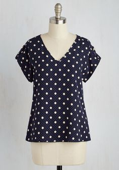 Pastry Picks Top in Dots. Your favorite treats taste even sweeter when youre wearing this navy blue top! #blue #modcloth