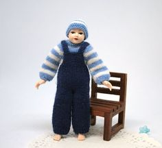 Dollhouse clothes miniature sweater, trousers, hat, Heidi Ott young boy doll clothes, 4 inches doll clothing, wearable boy doll outfit