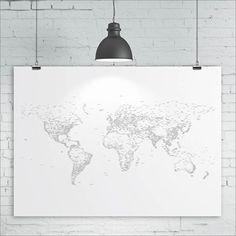 Monde carte impression  typographie / Words / texte  par kiacoltd, £20.00