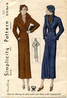 Rare Vintage Simplicity 1930's NRA Long Coat Pattern #1375  ~ Size 16 Bust 34""