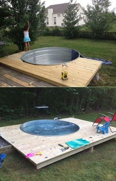 Galvanized Stock Tank Turned Into Backyard Private Pool - Piscina Backyard For Kids, Backyard Projects, Outdoor Projects, Backyard Patio, Backyard Landscaping, Landscaping Ideas, Diy Projects, Stock Pools, Stock Tank Pool