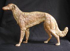 Antique Art Deco Jazz Age Blonde Russian Wolfhound Borzoi Dog Cast Iron Doorstop Door Stop