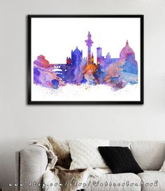 Florence City Skyline Art Print Florence poster by WatercolorBook $15-120. etsy
