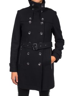 BURBERRY - Trench in lana collo alto - Nero  - Elsa-boutique.it #Burberry <3