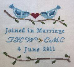 Lovebirds Wedding Keepsake cross stitch pattern PDF www.blackphoebedesigns.com