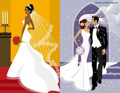 Wedding Illustrations | vector marriage; wedding; bride; groom; bouquet; newcomers; figure ...