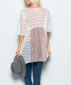 Another great find on #zulily! Coral Semi-Sheer Floral Lace-Accent Scoop Neck Tunic #zulilyfinds