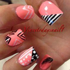 aztec nail.stripes.polka dots.feather.ziczac