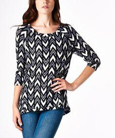 Look what I found on #zulily! Black & White Chevron Scoop Neck Pullover by tresics #zulilyfinds