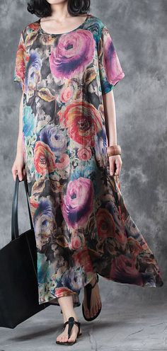 summer purple print silk dresses short sleeve maxi dress