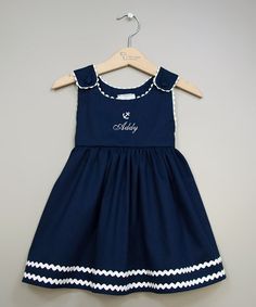 Another great find on #zulily! Navy White Anchor Personalized Jumper - Infant, Toddler Girls by Princess Linens #zulilyfinds