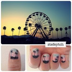 coachella sunset nails, I have done sunsets & palm trees Nail Polish Style, Cute Nail Polish, Hair And Nails, My Nails, Palm Nails, Sunset Nails, Finger Art, Shoe Nails, Nail Games